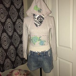 Free People hoodie gray tropical print